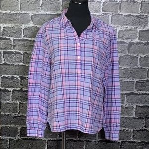 J. Crew Plaid Cotton Popover Tunic Lds Sz 12